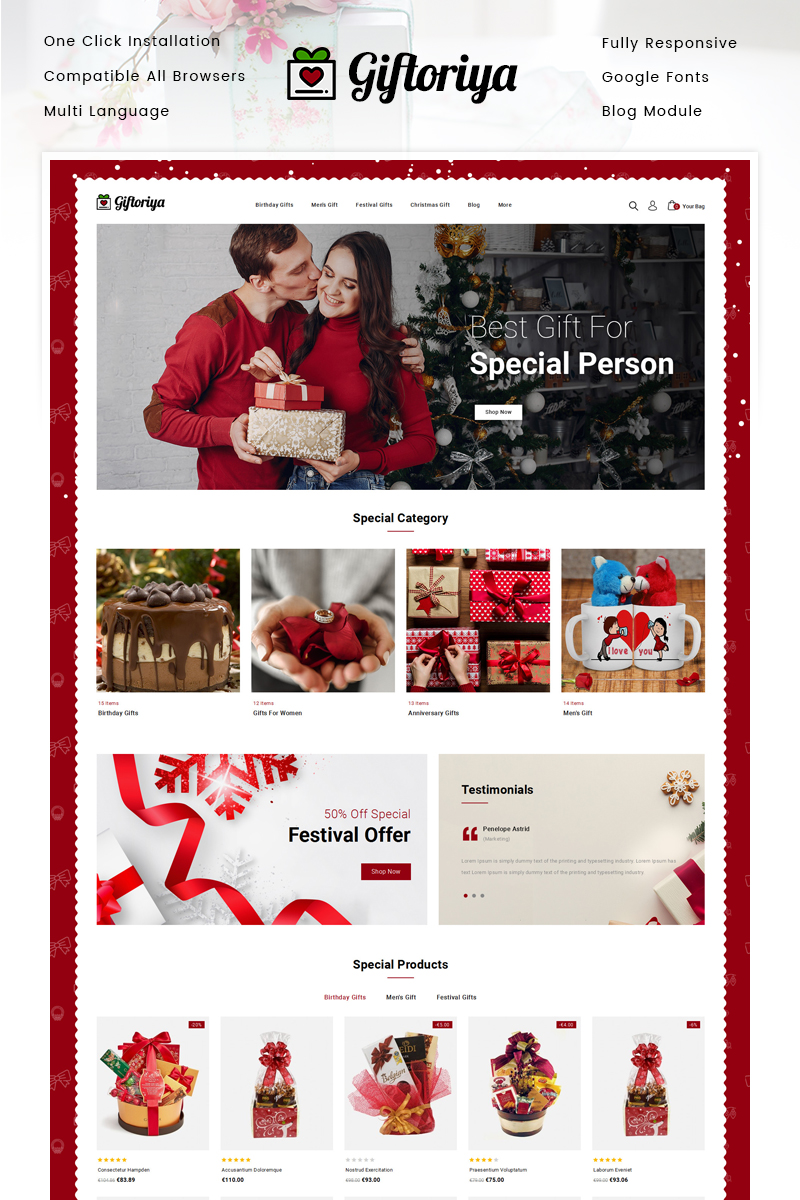 """Giftoriya - Gifts Store"" - адаптивний PrestaShop шаблон №90906"