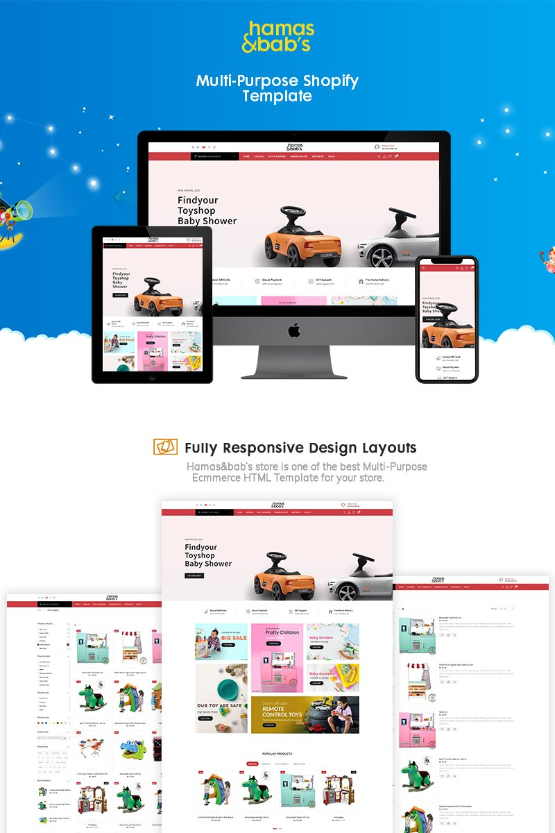"""Hamas & babys - Baby toys eCommerce"" Bootstrap Shopify Thema №90996"