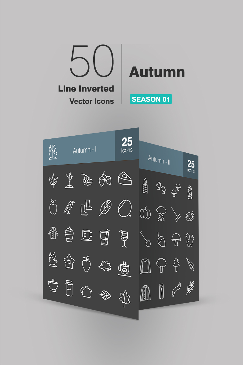 "Iconset šablona ""50 Autumn Line Inverted"" #90938"