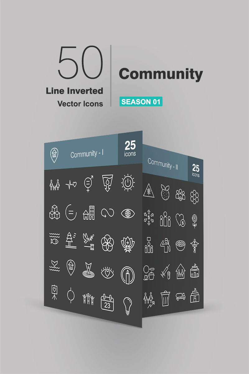 "Iconset šablona ""50 Community Line Inverted"" #90940"