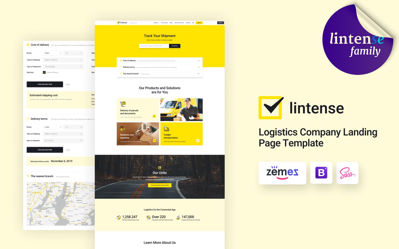 """""""Lintense Transportation - Logistics Company"""" - адаптивний Шаблон цільової сторінки №90995"""