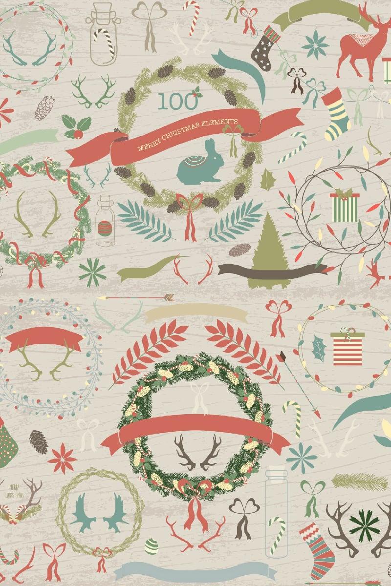 100 Merry Christmas Elements Illustration