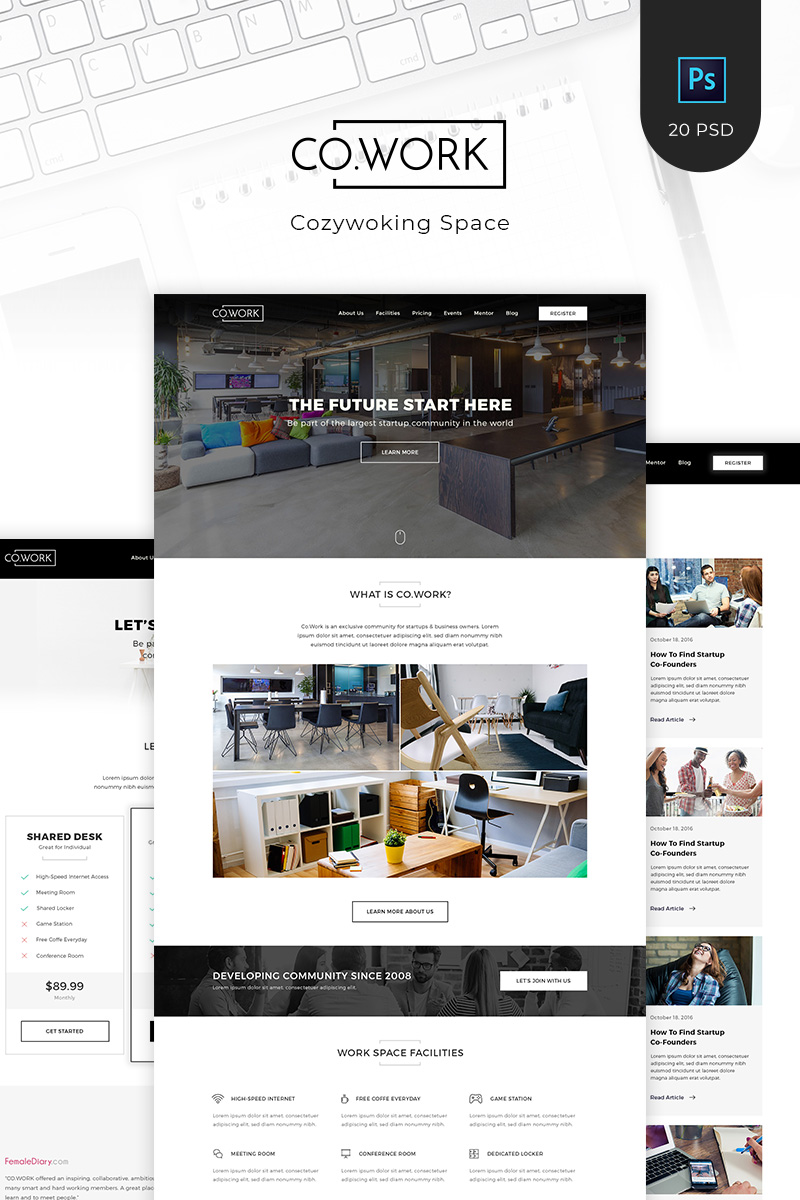 "Modello PSD #90998 ""CoWork - Open Office & Creative Space"" - screenshot"