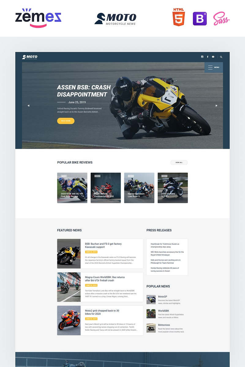 """MOTO - Motorcycle Sports"" Responsive Website template №90997"