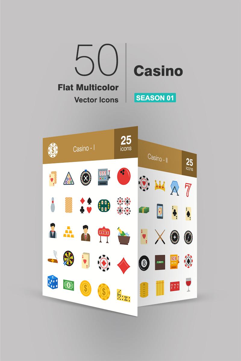 """Plantilla De Conjunto De Iconos """"50 Casino Flat Multicolor"""" #90948"""