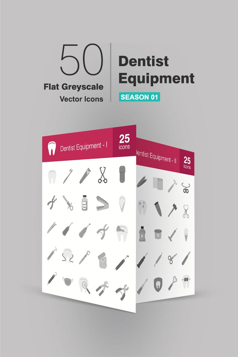 """Plantilla De Conjunto De Iconos """"50 Dentist Equipment Flat Greyscale"""" #90949"""