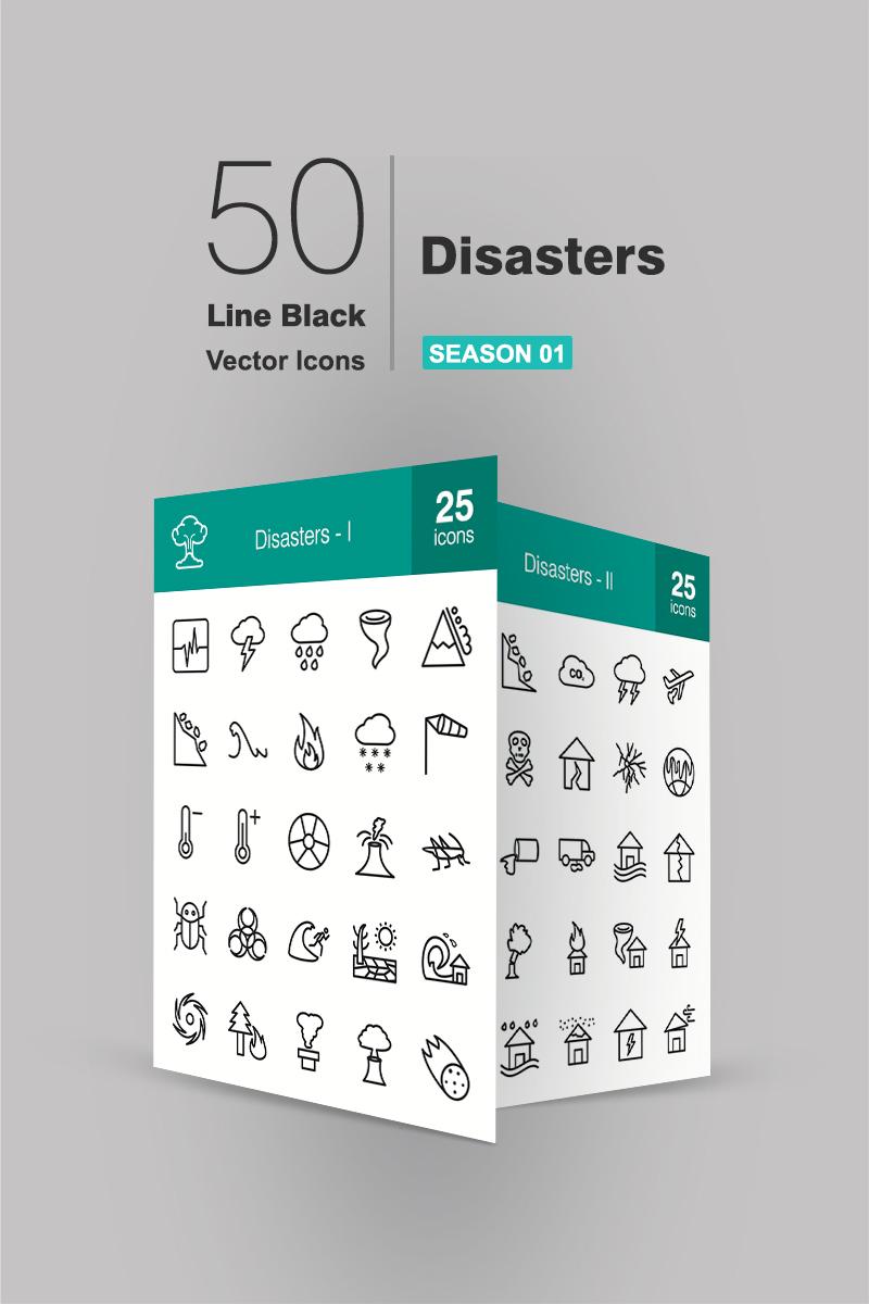 """Plantilla De Conjunto De Iconos """"50 Disasters Line"""" #90939"""