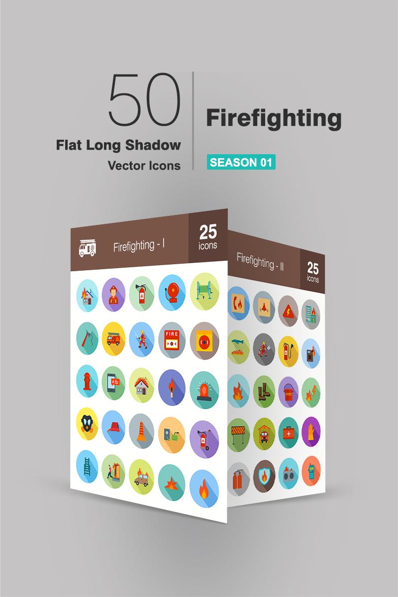"""Plantilla De Conjunto De Iconos """"50 Firefighting Flat Long Shadow"""" #90950"""