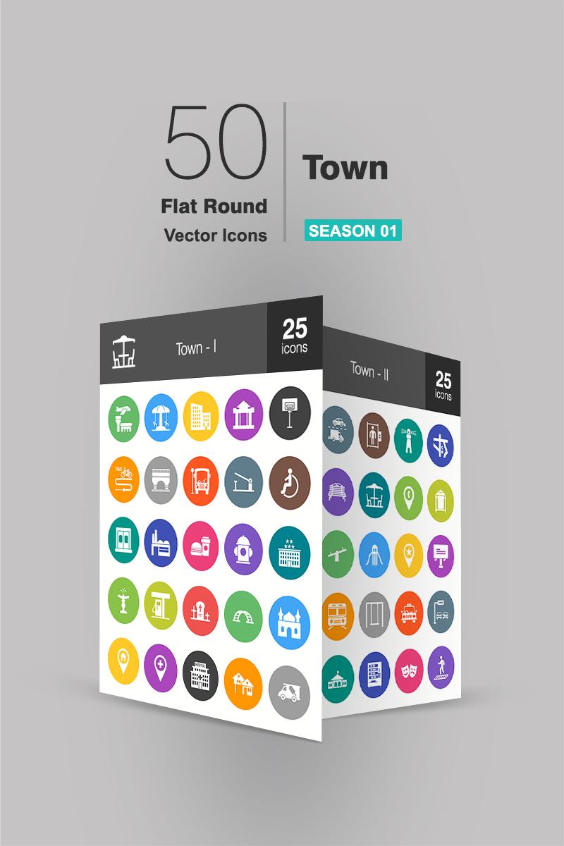 """Plantilla De Conjunto De Iconos """"50 Town Flat Round"""" #90947"""