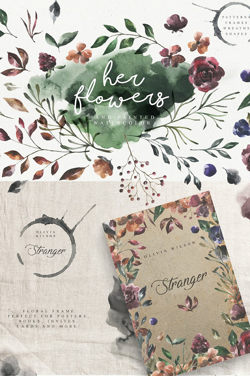 "Template Illustrazione #90955 ""Her Flowers Watercolor Collection"""