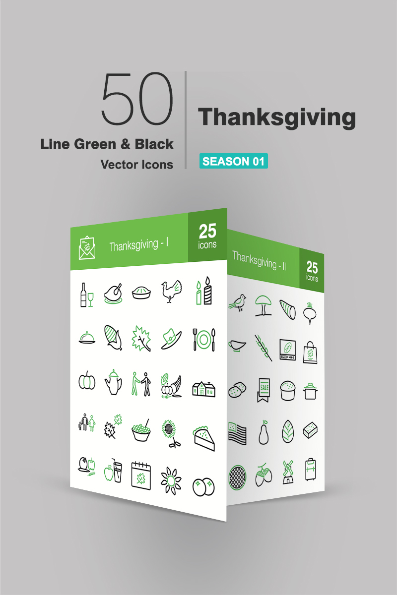 """50 Thanksgiving Line Green & Black"" ensemble d'Icônes  #90941"