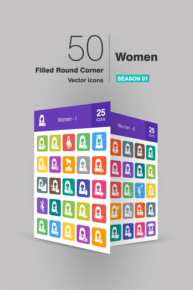 50 Women Filled Round Corner Iconset #90945