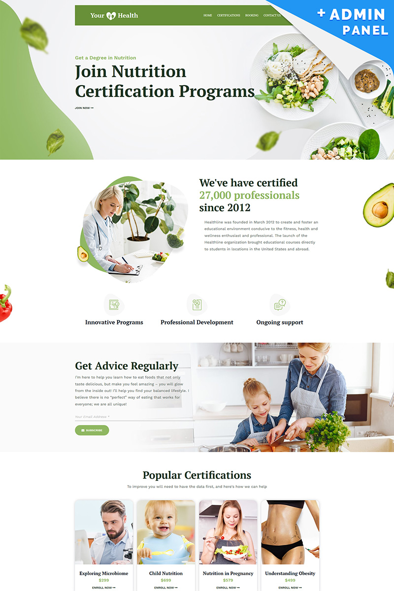 """Your Health - Nutrition"" Responsive Landingspagina Template №90951 - screenshot"