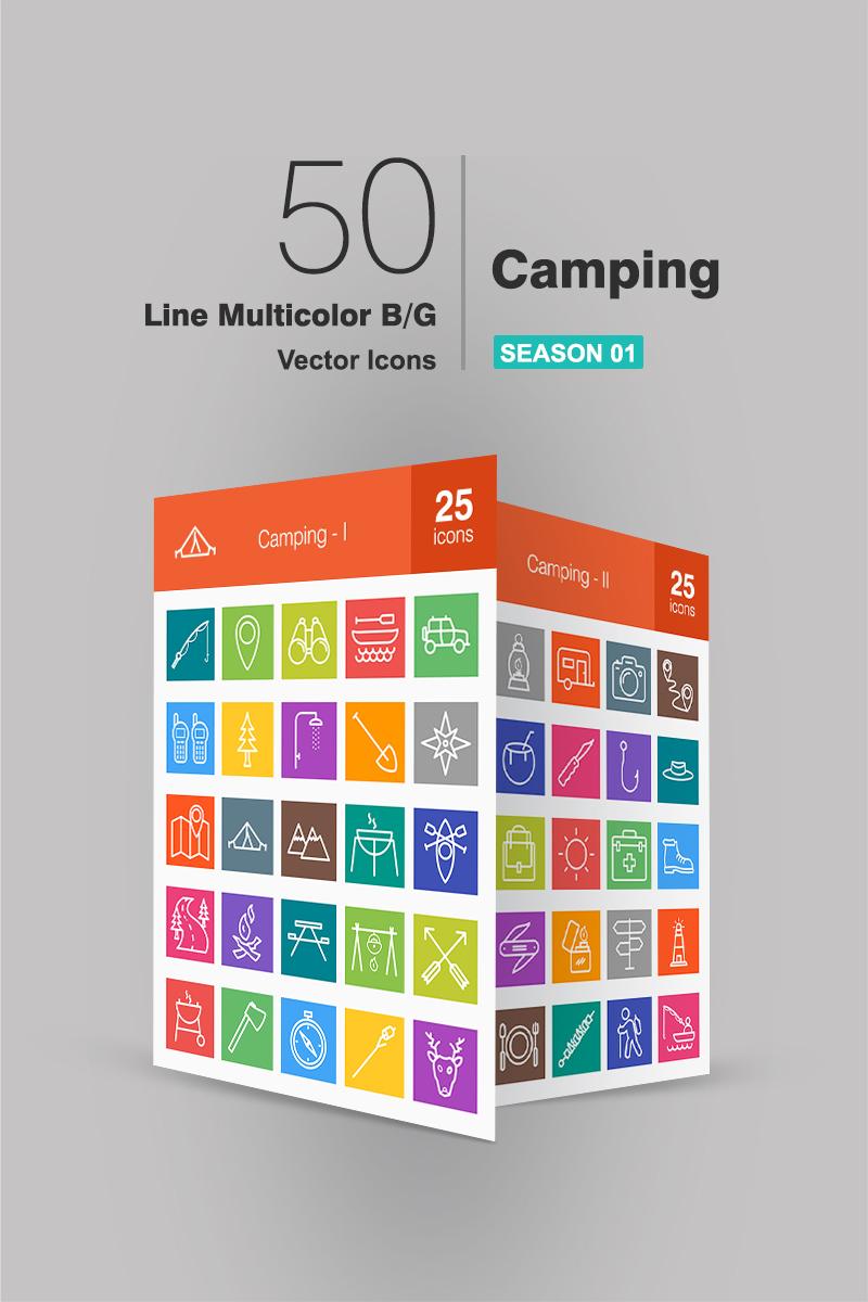 50 Camping Line Multicolor B/G Conjunto de Ícones №91063