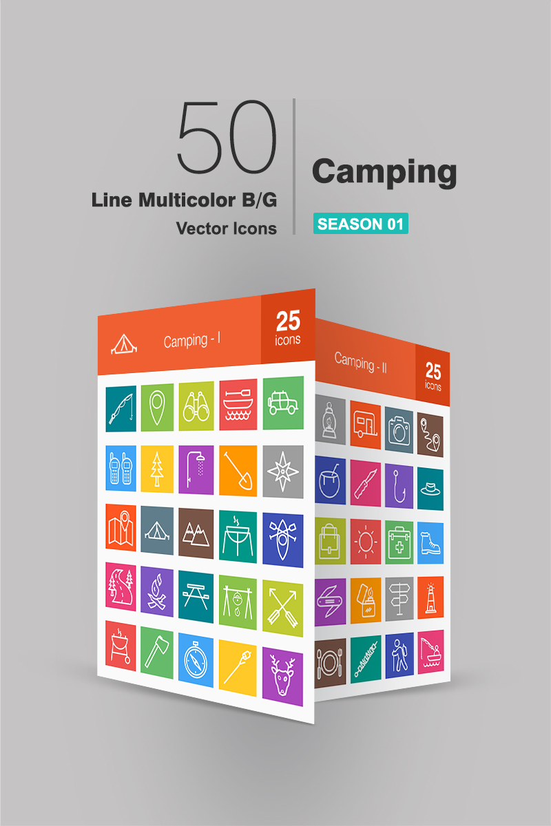"""""""50 Camping Line Multicolor B/G"""" Iconset template №91063"""