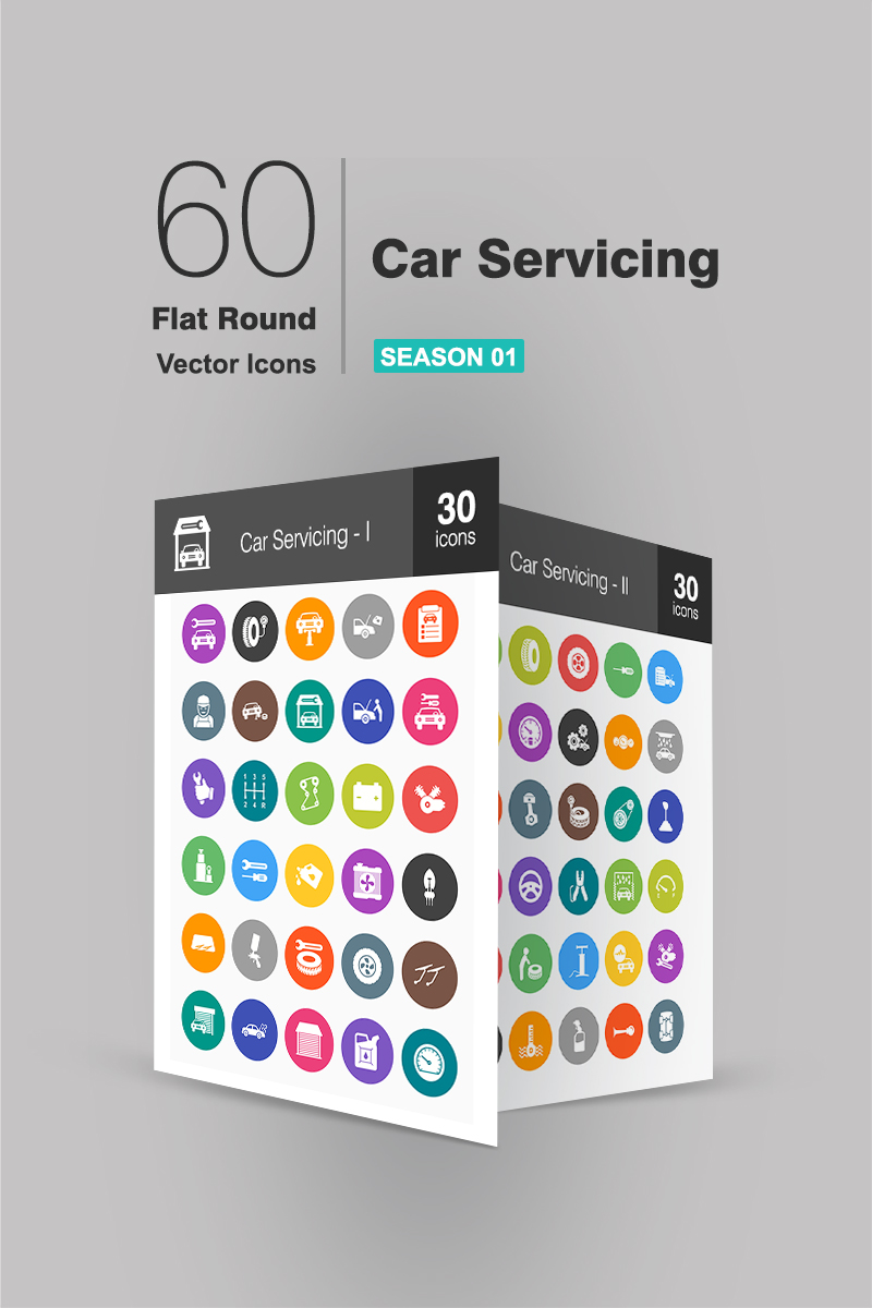 60 Car Servicing Flat Round Conjunto de Ícones №91070