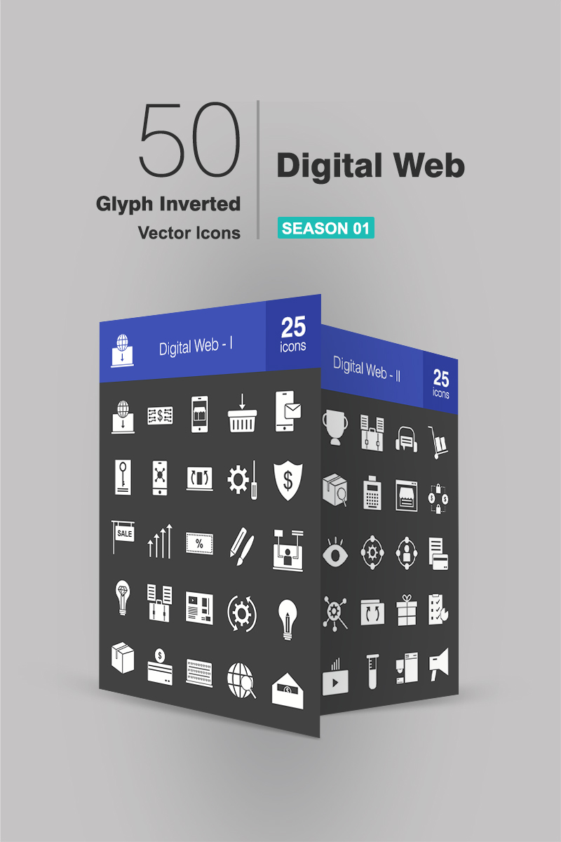 50 Digital Web Glyph Inverted Iconset Template
