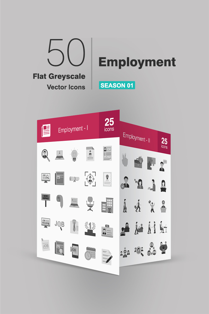 50 Employment Flat Greyscale Ikon csomag sablon 91061