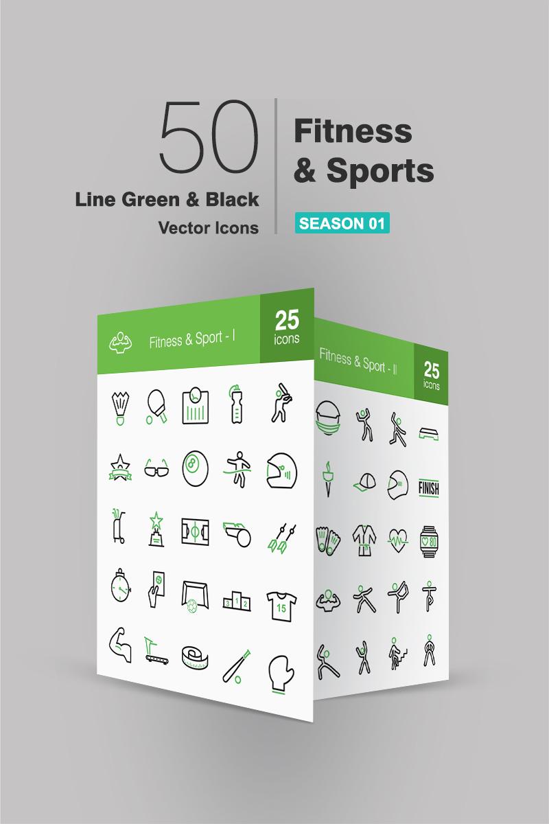 50 Fitness & Sports Line Green & Black Conjunto de Ícones №91064