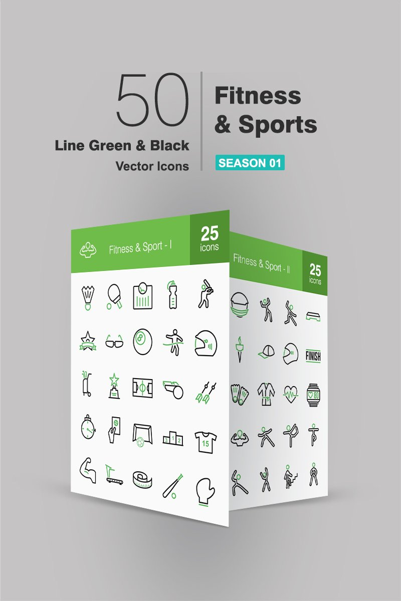 50 Fitness & Sports Line Green & Black Iconset #91064