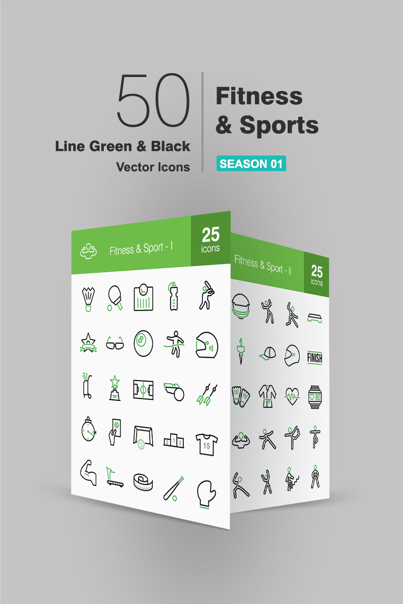 """""""50 Fitness & Sports Line Green & Black"""" Iconset template №91064"""