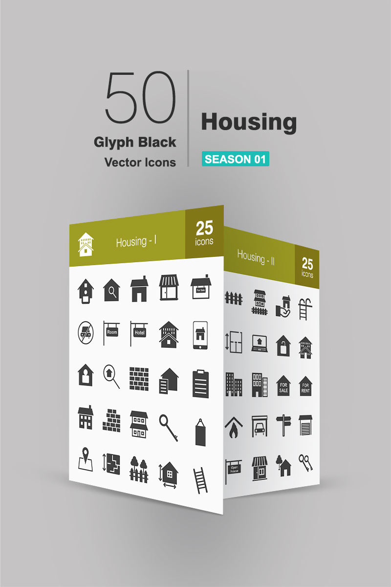 50 Housing Glyph Ikon csomag sablon 91062