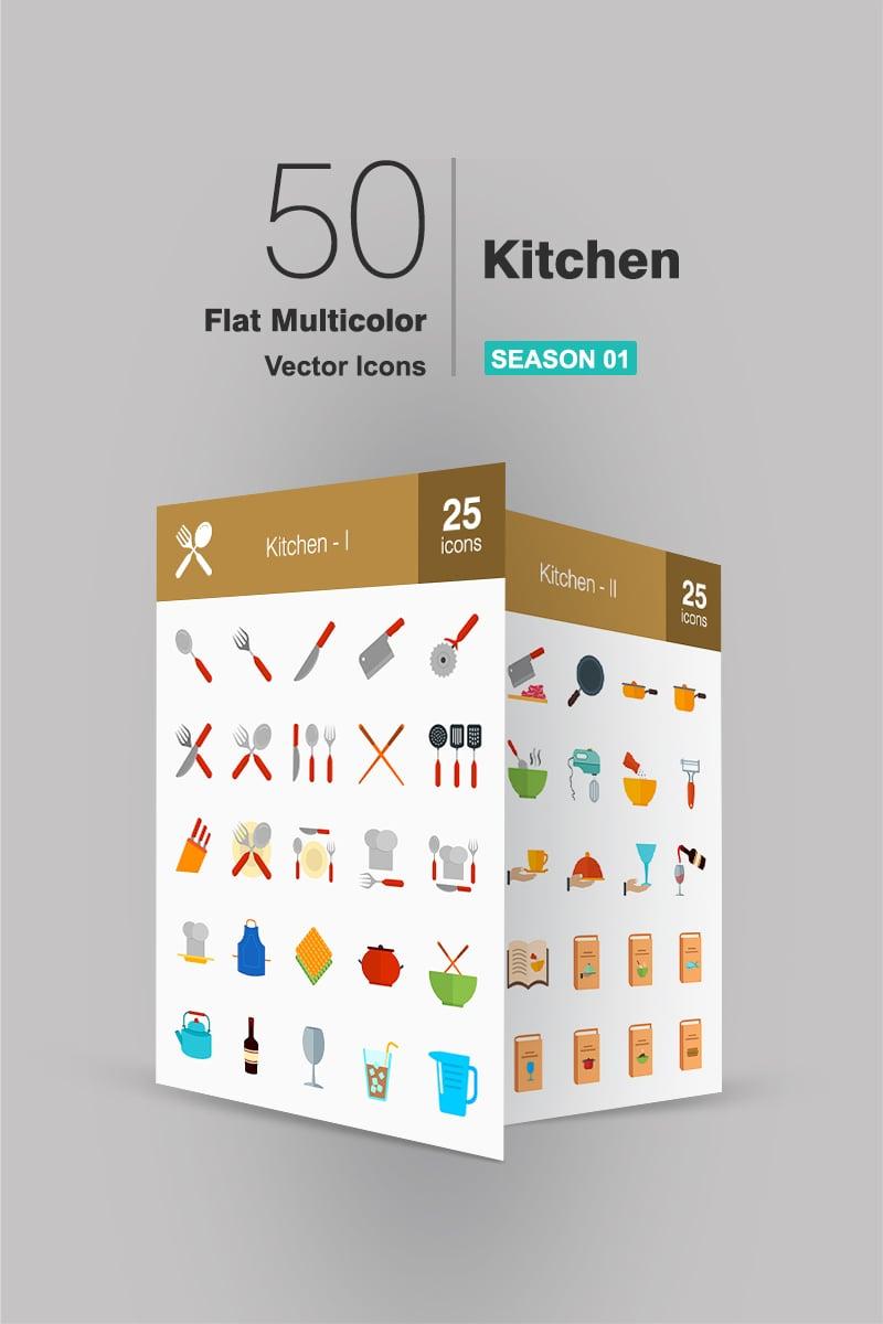 """Icon-Sammlungen Vorlage namens """"50 Kitchen Flat Multicolor"""" #91069"""