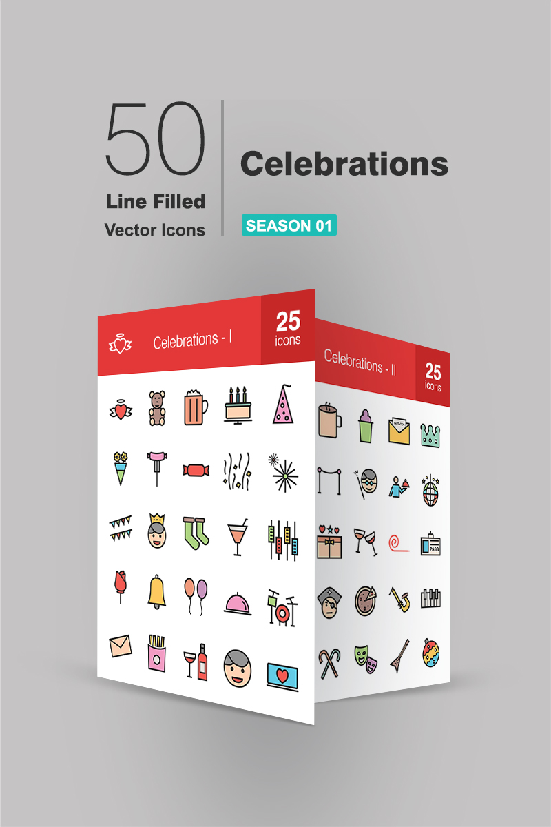 "Iconset šablona ""50 Celebrations Filled Line"" #91067"