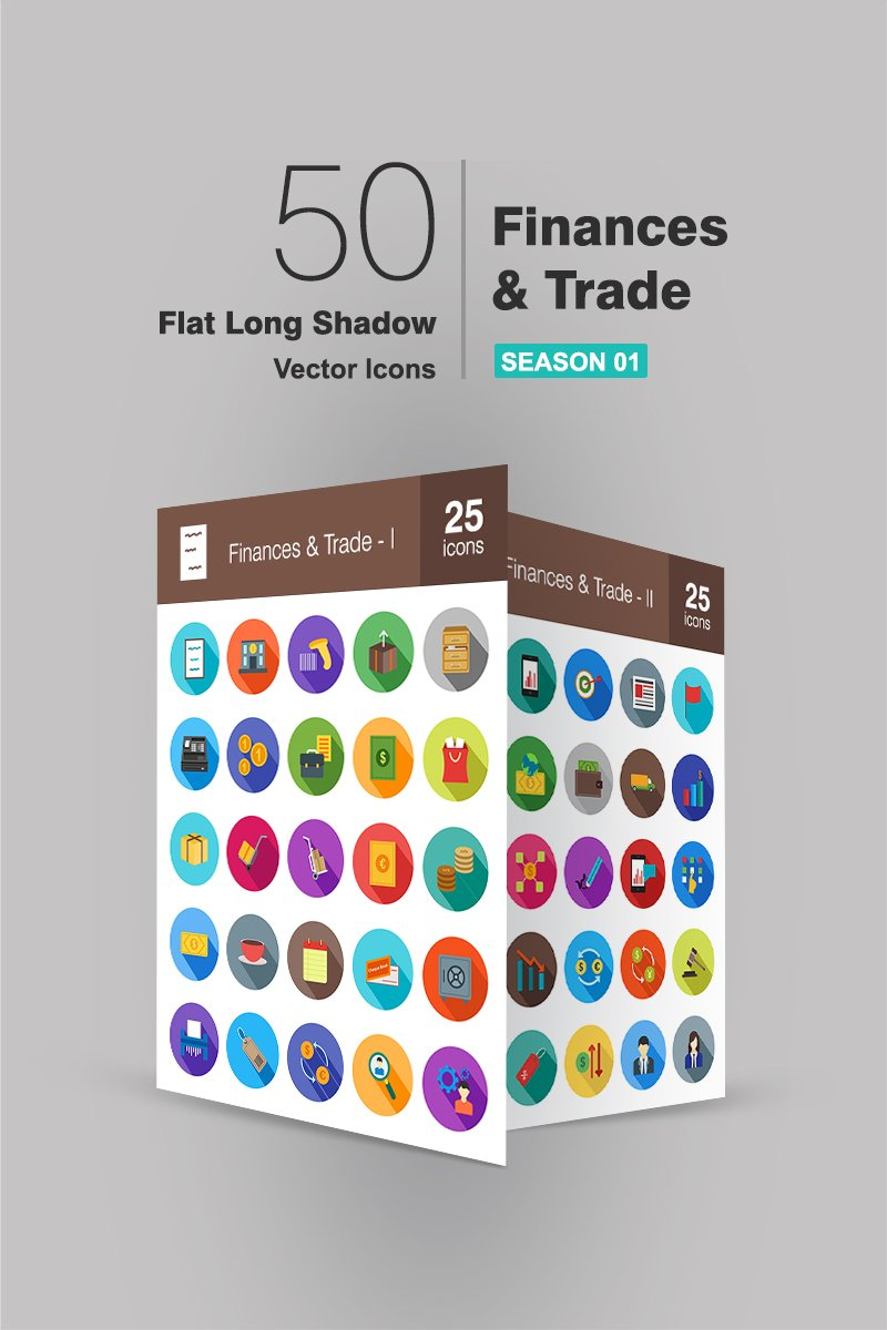 "Iconset šablona ""50 Finances & Trade Flat Long Shadow"" #91068"