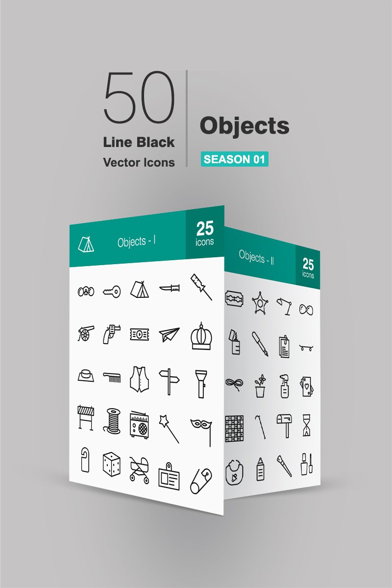 "Iconset šablona ""50 Objects Line"" #91066"