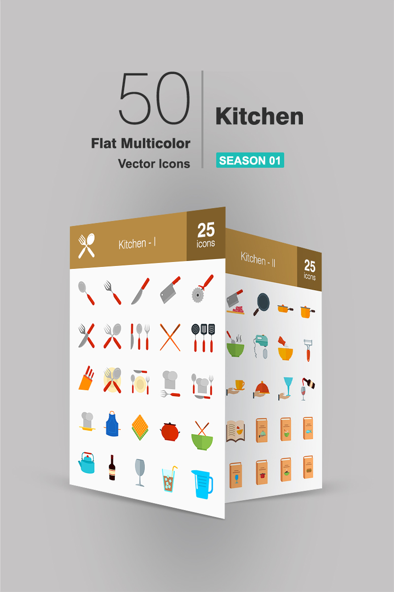 """""""50 Kitchen Flat Multicolor"""" Iconset template №91069"""