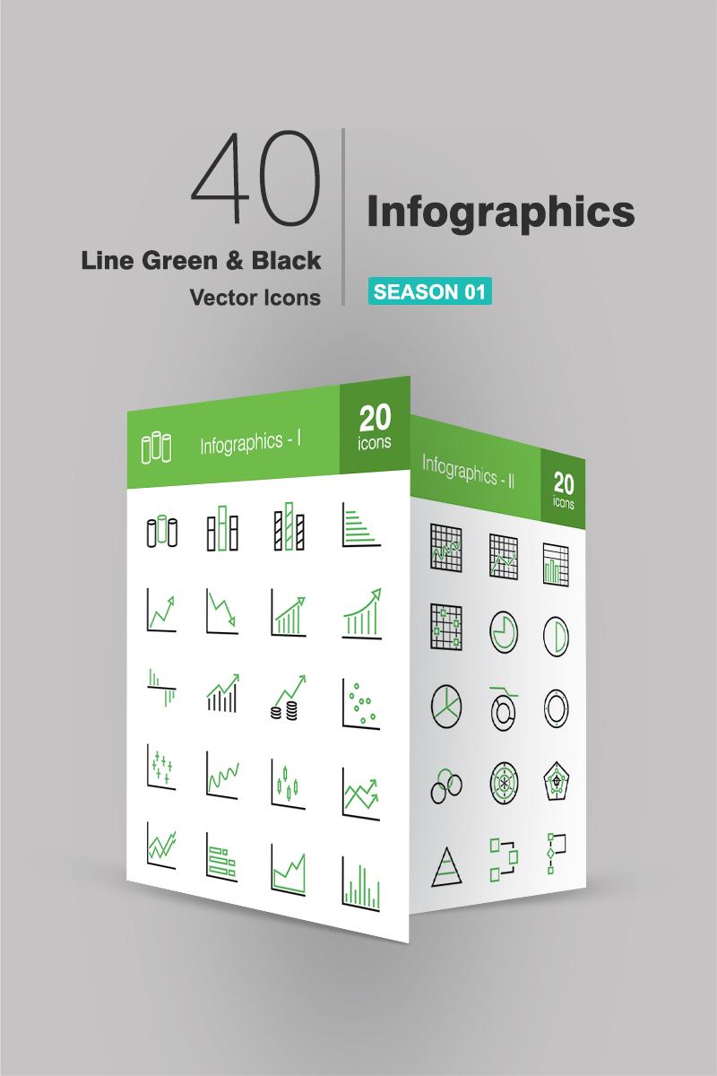 """Modello Pacchetto Icone #91082 """"40 Infographics Line Green & Black"""""""
