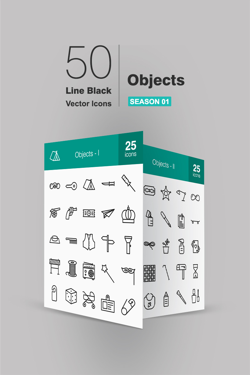 """""""50 Objects Line"""" Iconset template №91066"""