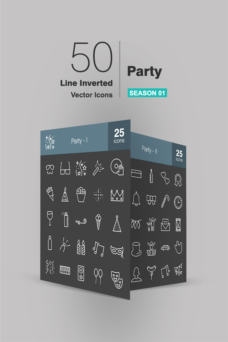 50 Party Line Inverted Conjunto de Ícones №91065