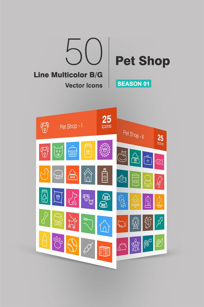 50 Pet Shop Line Multicolor B/G Iconset Template