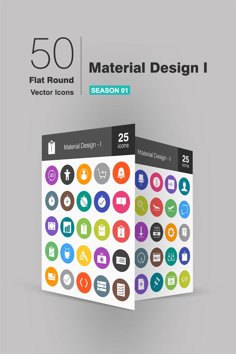 """Plantilla De Conjunto De Iconos """"100 Material Design Flat Round"""" #91074"""
