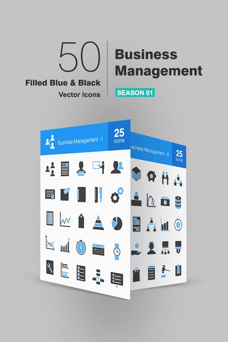 """Plantilla De Conjunto De Iconos """"50 Business Management Filled Blue & Black"""" #91075"""
