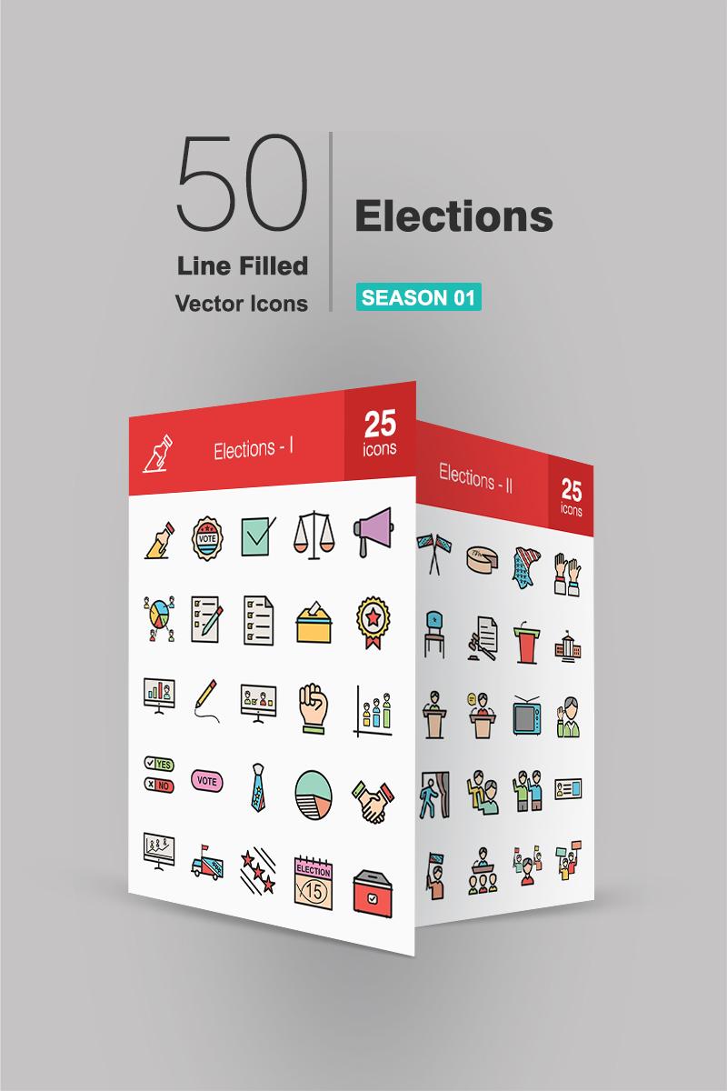 """Plantilla De Conjunto De Iconos """"50 Elections Filled Line"""" #91085"""