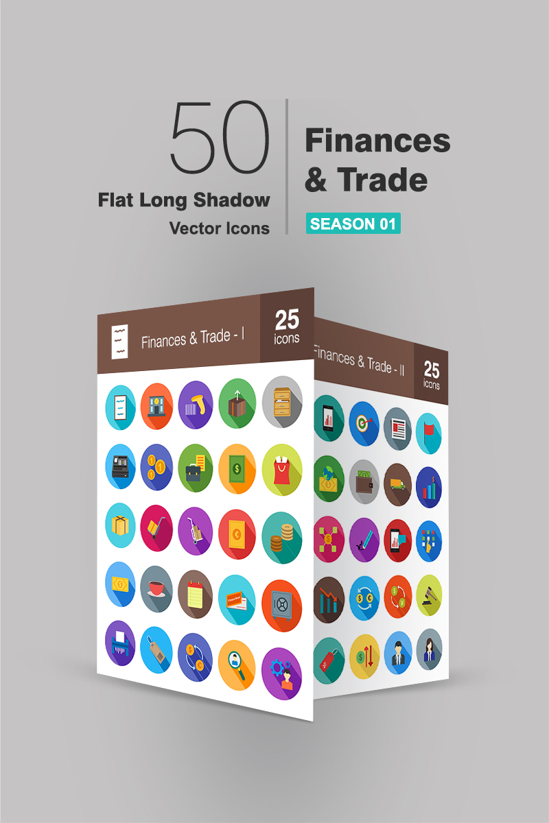 """Plantilla De Conjunto De Iconos """"50 Finances & Trade Flat Long Shadow"""" #91068"""