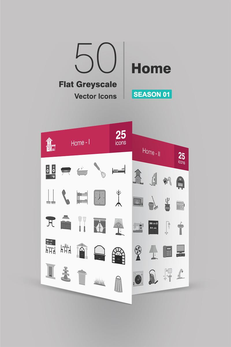 """Plantilla De Conjunto De Iconos """"50 Home Flat Greyscale"""" #91087"""