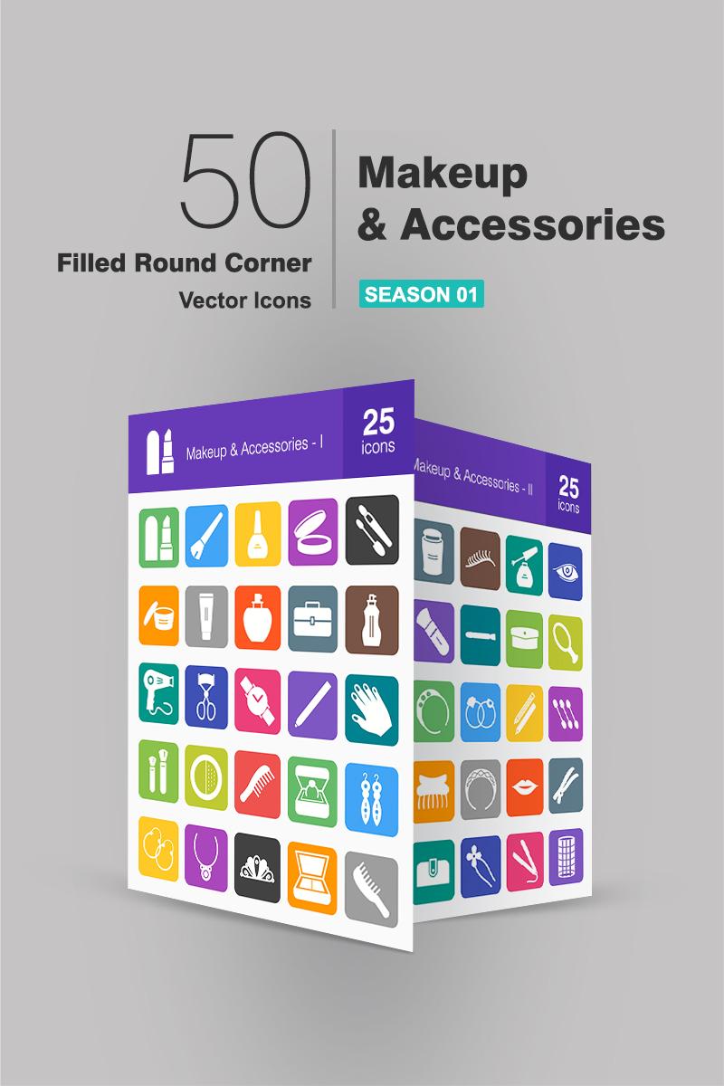 """Plantilla De Conjunto De Iconos """"50 Makeup & Accessories Filled Round Corner"""" #91076"""