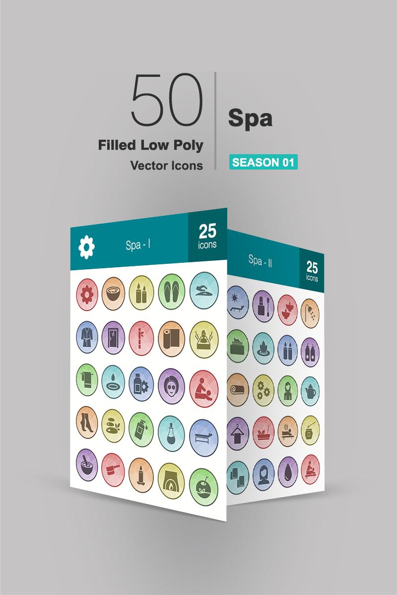 """Plantilla De Conjunto De Iconos """"50 Spa Filled Low Poly"""" #91084"""