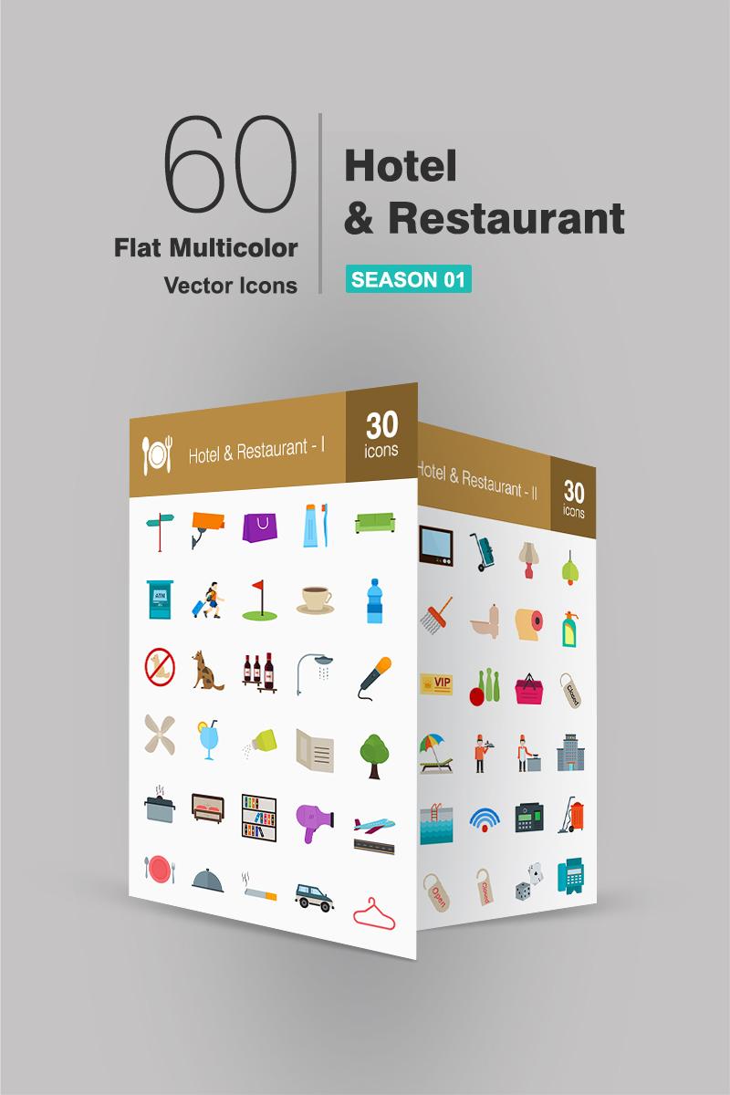 """Plantilla De Conjunto De Iconos """"60 Hotel & Restaurant Flat Multicolor"""" #91073"""