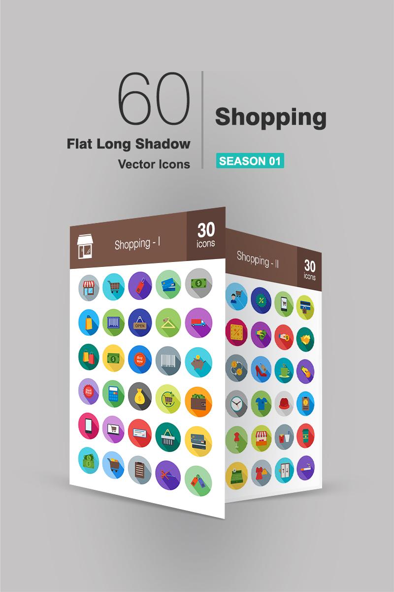 "Plantilla De Conjunto De Iconos ""60 Shopping Flat Long Shadow"" #91086"