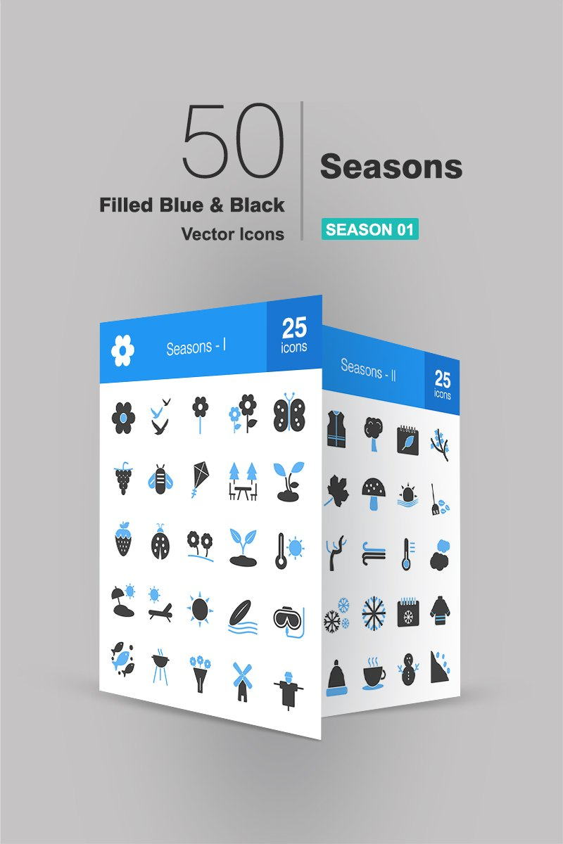 50 Seasons Filled Blue & Black Iconset Template