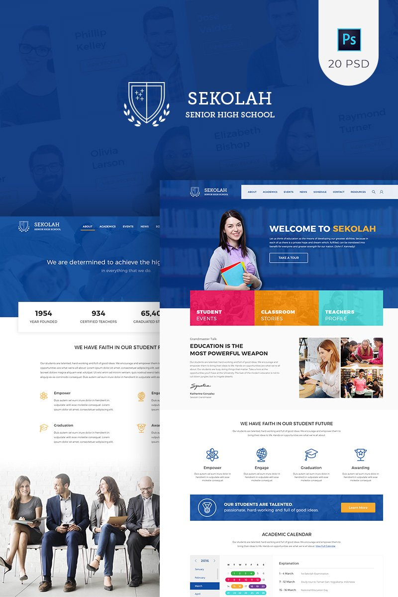 Sekolah - Senior High School PSD Template