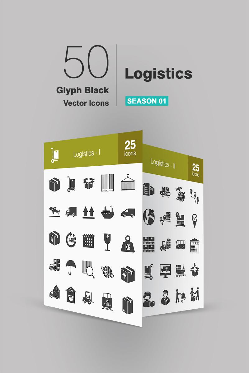 """Tema Pacchetto Icone #91080 """"50 Logistics Glyph"""""""