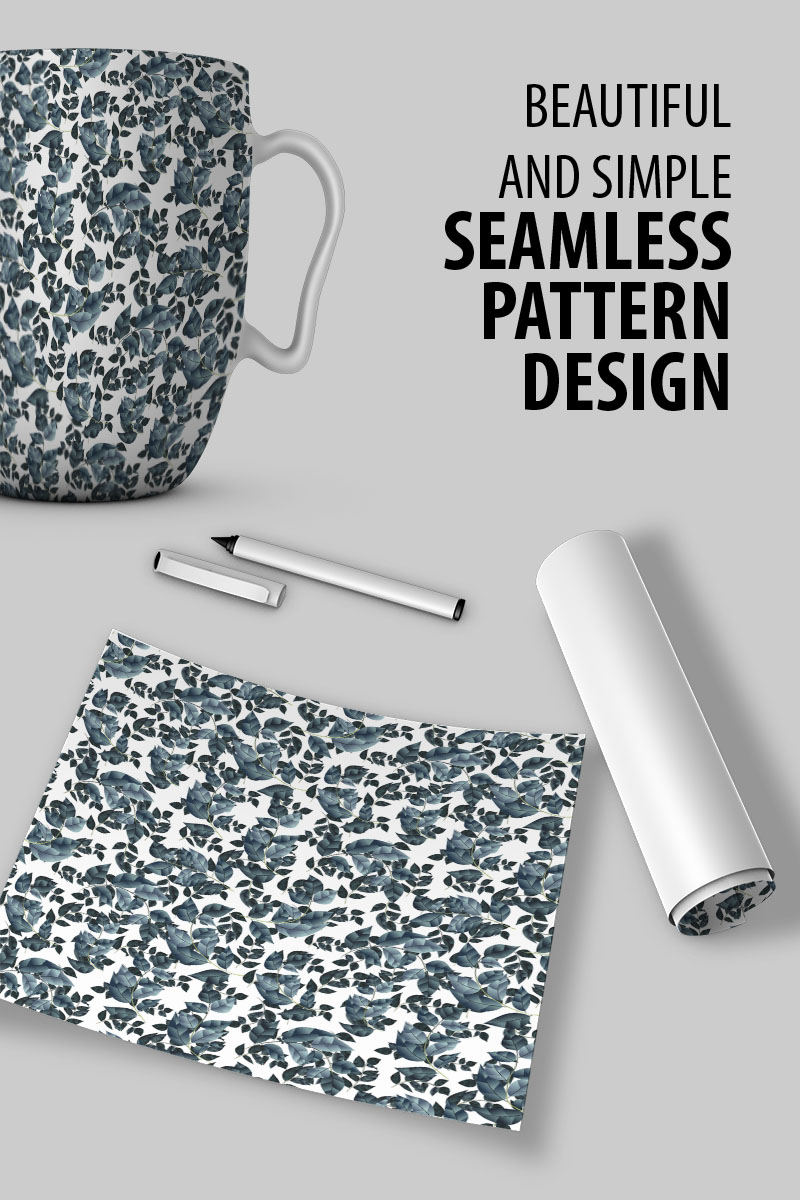 "Tema Pattern #91035 ""Floral seamless tiny branches with leaves"""