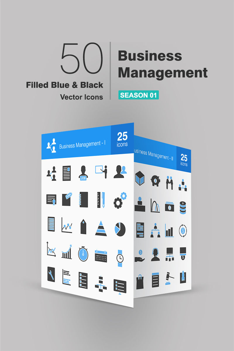 """Template Pacchetto Icone #91075 """"50 Business Management Filled Blue & Black"""""""