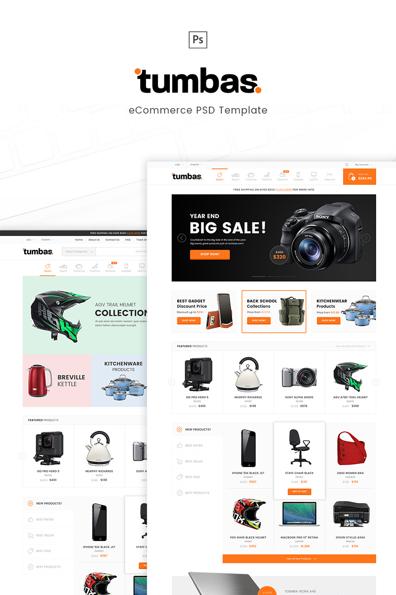 """Tumbas - eCommerce"" PSD Template №91040"